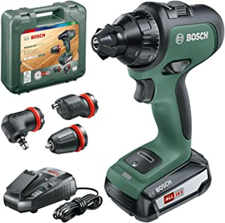 Bosch 06039B5072 Cordless Drill AdvancedDrill 18 (1 x Battery, 18 V System, 3 Drill Attachments, in a Carrying Case)