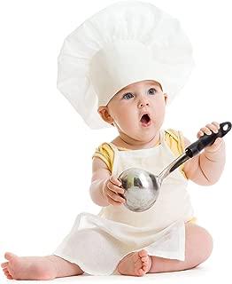 CHEFSKIN Baby Toddler Kids Children Chef Set : 1 Chef Hat + 1 Chef Apron White Fits 8-36 Months