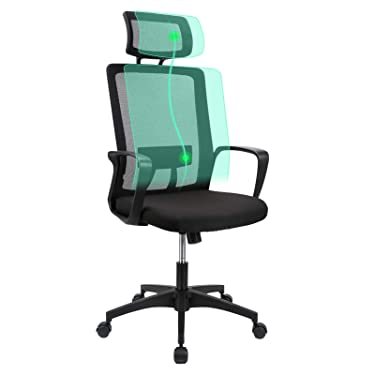 Komene Mesh Ergonomic Office Chair, High Back Desk Chair Swivel Computer Chair with Lumber Support Adjustable Height and Soft Foam Seat Cushion Task Chair, Hold on 350lbs Black