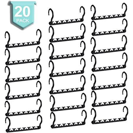 SMARTOR Sturdy Plastic Space Saving Hangers Pack of 20 Cascading Hanger Organizer Closet Space Saver Multifunctional Hangers for Heavy Clothes Black
