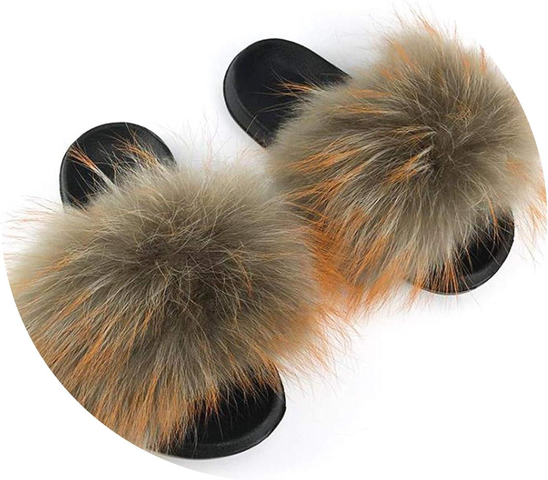 Just XiaoZhouZhou Real Raccoon Fur Slippers Women Sliders Casual Fox Hair Flat Fluffy Fashion Home Summer Big Size 45 Furry Flip Flops shoes,color C,9