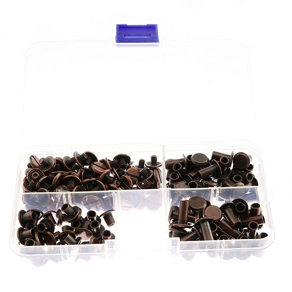 90 Sets Red Bronze Chicago Screws Assorted Kit Screw Posts Metal Accessories Nail Rivet Chicago Button for DIY Leather Decoration Bookbinding Slotted Flat Head Stud Screw 5x6/10/12mm