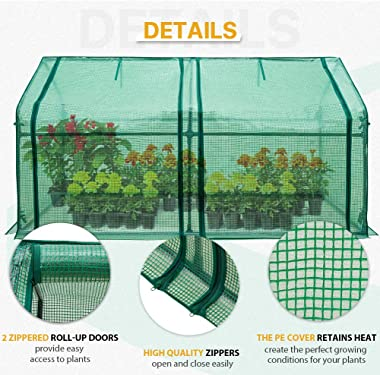 EAGLE PEAK Mini Garden Portable Greenhouse 71'' x 36'' x 36'' with Zipper Opening for Indoor Or Outdo