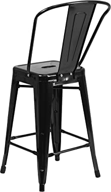 """Flash Furniture Commercial Grade 4 Pack 24"""" High Black Metal Indoor-Outdoor Counter Height Stool with Removable Back"""