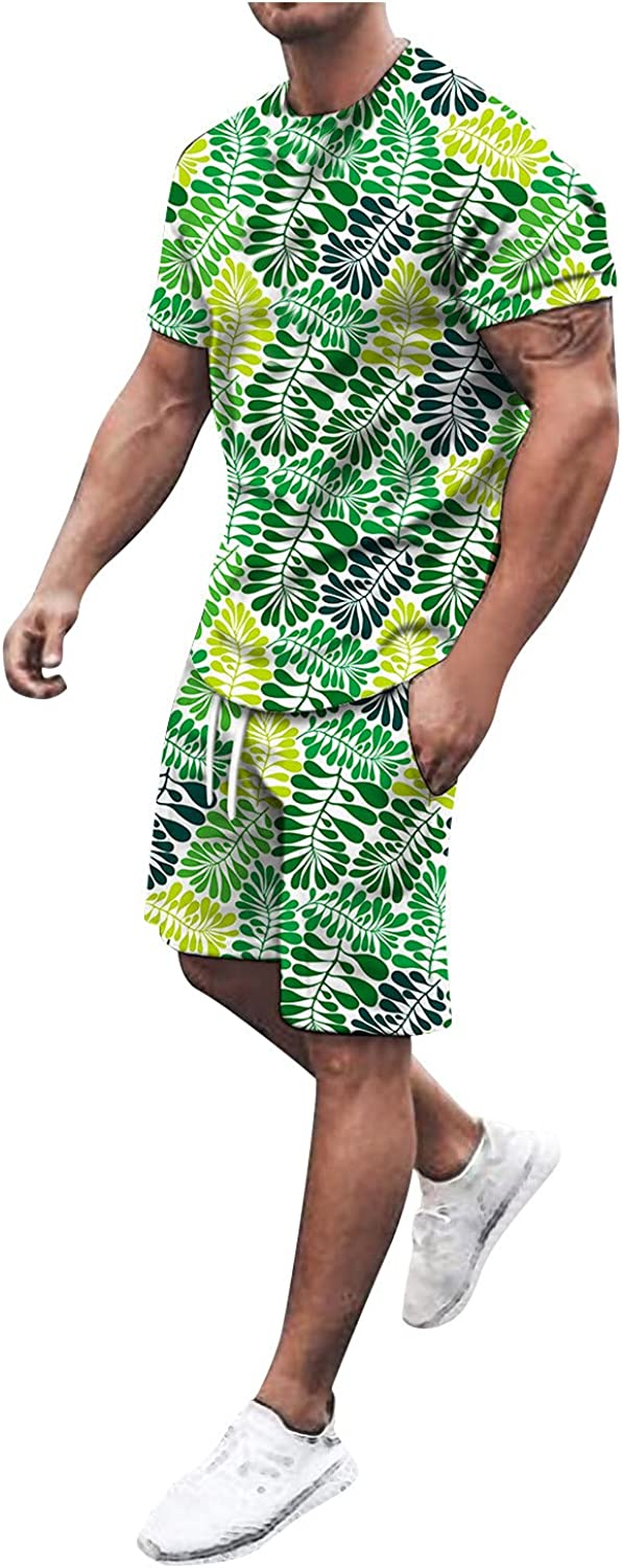 QWENTMTNTY Mens 2 Piece Outfits Short Sleeve T Shirt Graphic Print Suits Casual Summer Fitness T-Shirts and Shorts Sets