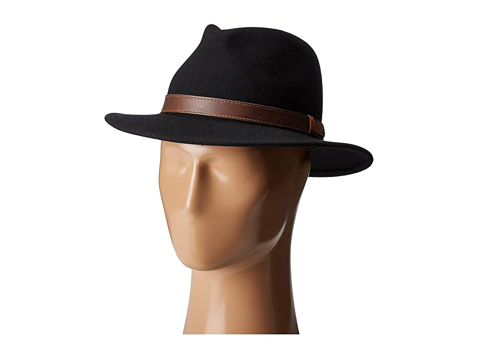 Country Gentleman Bryson Drop Brim Fedora with Leather Trim (Black) Caps