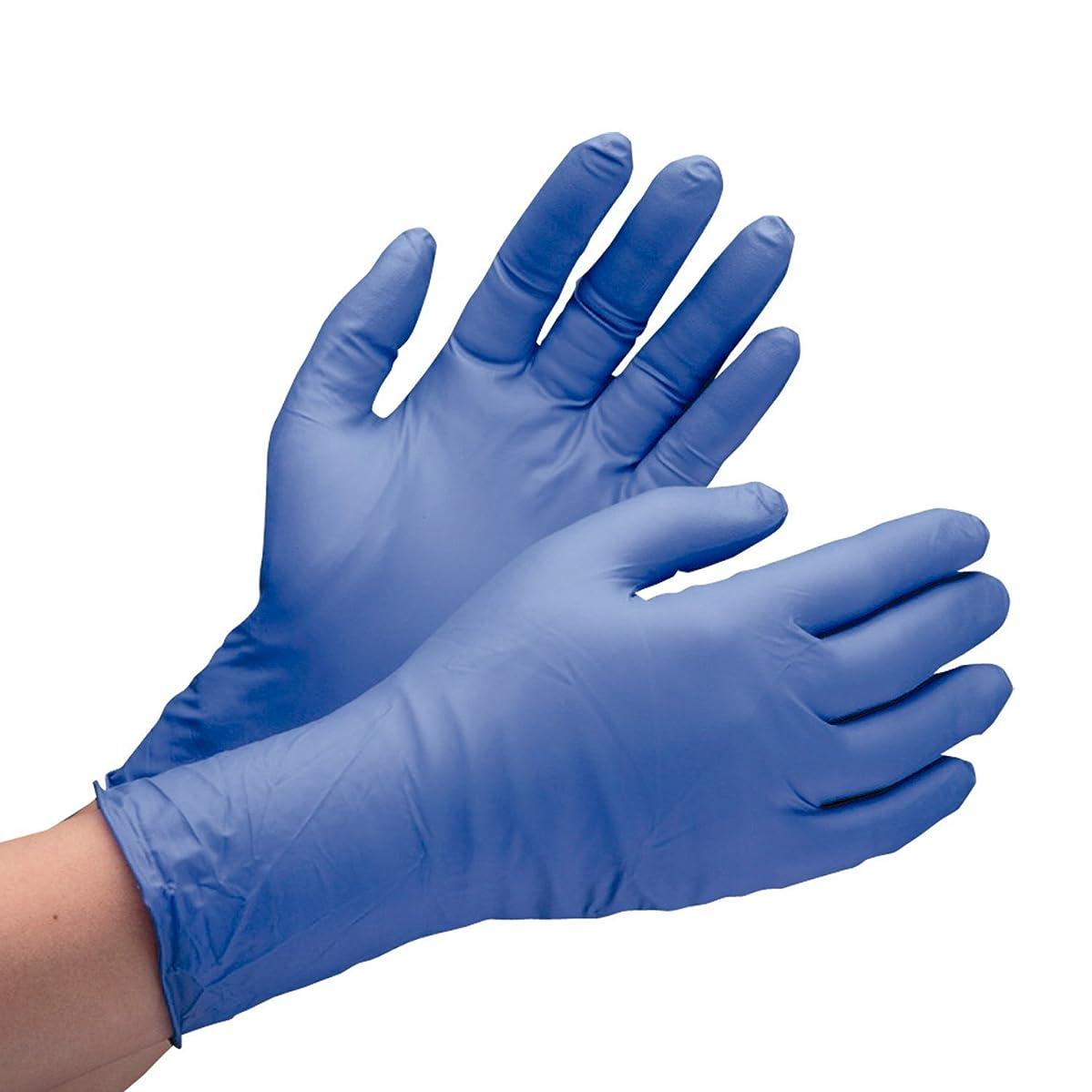 ミドリ安全 ニトリル手袋 ベルテ701H 厚手タイプ 粉なし ブルー M (100枚入)