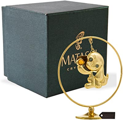 Matashi MT13306G 24K Gold Plated Puppy Hoop Tabletop Ornament with Crystals Elegant Showpiece Centerpiece Dog Figurine Home Living Room Office Decor Gift for Christmas Birthday New Year Holiday Mothe