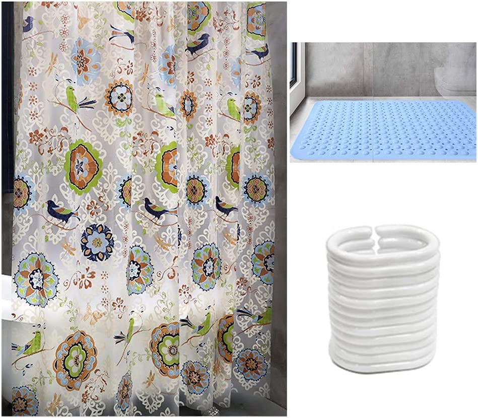 Indianapolis Mall ZHANGDONG Flowers and Birds Max 52% OFF Shower Anti-Skid Curtain PVC Mat