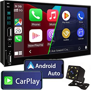 Double Din Car Stereo Compatible with Apple Carplay and Android Auto,7 Inch Touch Screen Car Stereo with Bluetooth 5.0,16-Segment EQ Car Audio Receivers,DSP,Mirror Link,HD Backup Camera,FM Car Radio