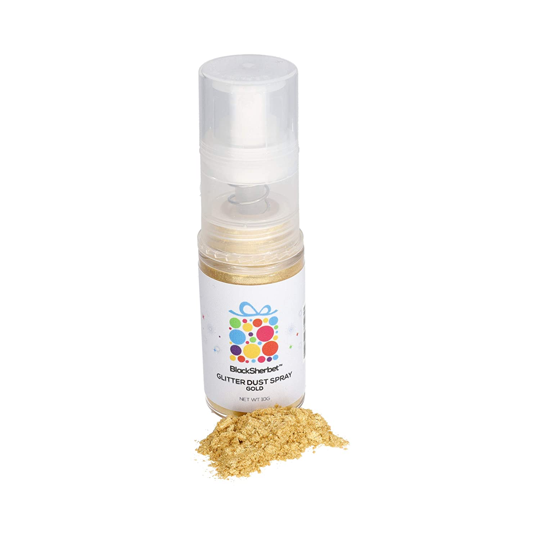 Blacksherbet Edible Glitter Dust Spray, (10g) | 100% Edible | Cakes, Cupcakes, Decorating, Cake Pops, Cookies, Drinks, Chocolate. Food Grade Coloring Glitter & Dusts. Kosher (Gold)