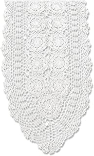 KEPSWET Cotton Handmade Crochet Lace Oval Table Runner White 14x36 inch