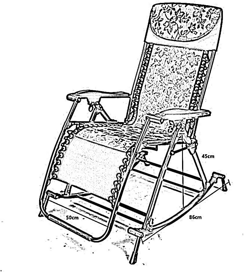 LYQQQQ Chaise Pliante Fauteuil à Bascule inclinable Balcon inclinable Adulte Pliant Pause déjeuner Sieste Loisirs Chaise pour Personnes âgées (Color : 5) 3