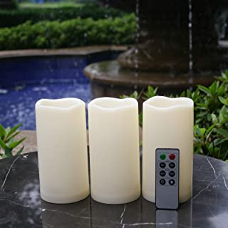 """Waterproof Outdoor Flameless LED Candles - with Remote and Timer Realistic Flickering Battery Operated Powered Electric Electronic Plastic Resin Pillar Candles by Qidea 3-Pack 3""""x6"""""""