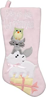 New Traditions Pink Fleece Baby's First Christmas Stocking - 16 inch Holiday Stocking with Festive Owl, Raccoon, and Polar Bear Applique
