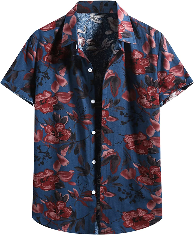 Mens Summer Hawaiian Shirt, Short Sleeve Button Down Floral Shirts Boho Relaxed-Fit Casual Beach Tops Blouses