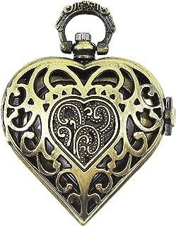 [モノジー] MONOZY アンティーク 風 ネックレス 時計 ハート 透かし彫り 懐中時計 ペンダント 収納ポーチ (2) アンティークゴールド)