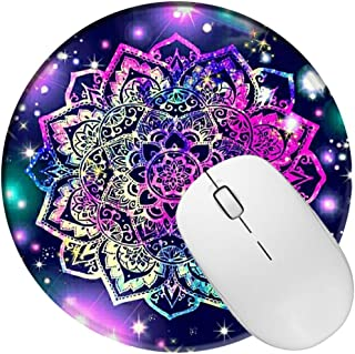 Non Slip Rubber Mouse Pad Beautiful Pattern Desktop 7.9in X7.9in Small Size Computer PC Round Mouse Mat (Mandala Purple)
