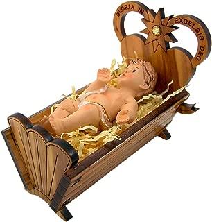 Hirten Baby Jesus Christ in Wooden Crib Nativity Figurine, 3 Inch