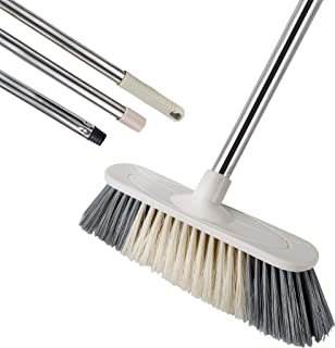 Soft Sweeping Broom, MEIBEI Multi-Surface Kitchen Broom with Stainless Steel Long Handle-50.5