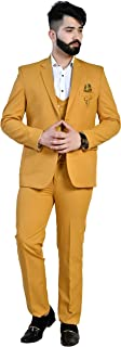 Golden Tree Latest Coat Pant Designs Yellow Mens Classic Suits for Wedding Slim Fit 2 Piece