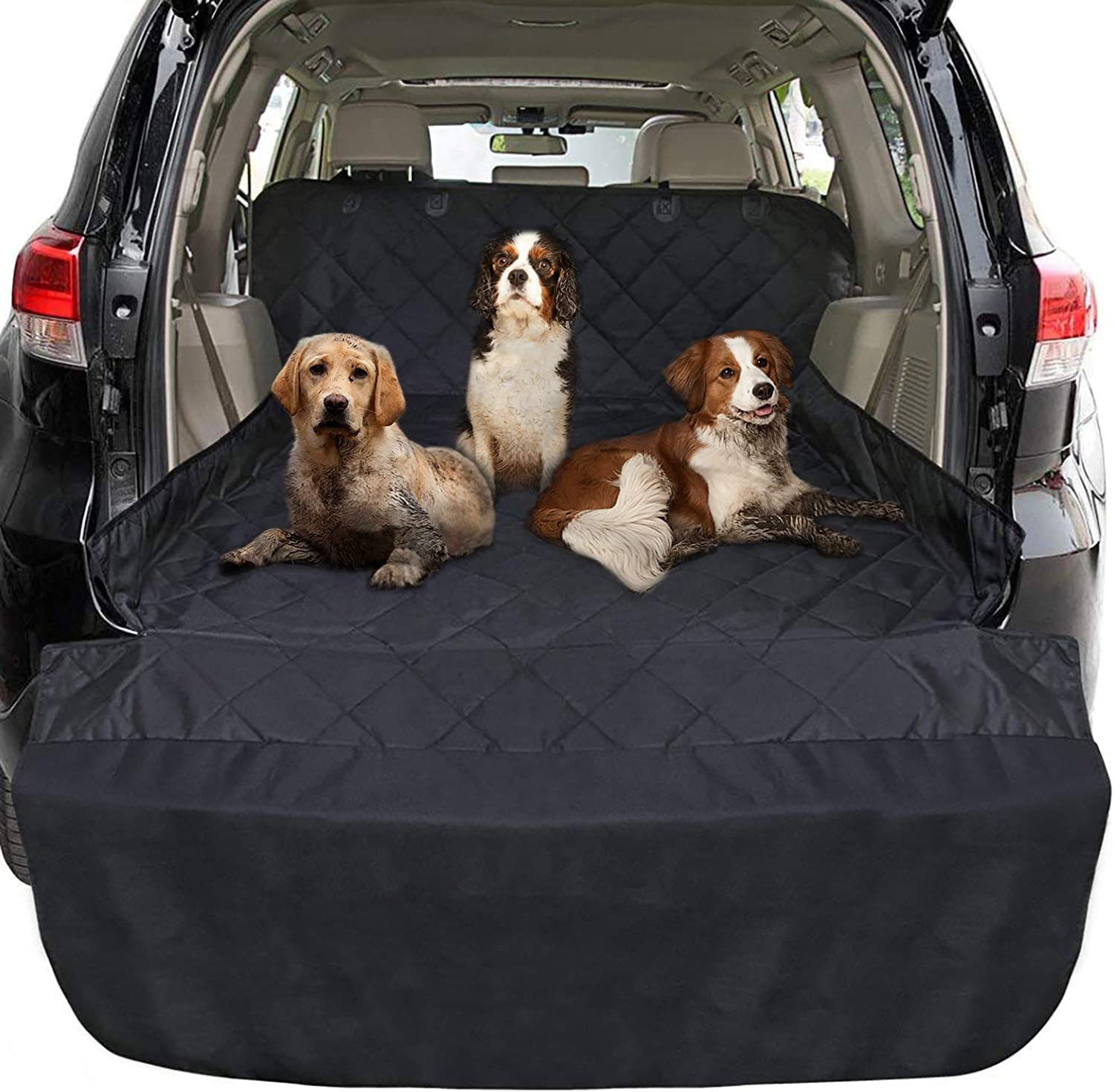 FunniPets Cargo Liner for Dogs SUV, Large Size Universal Fit, Waterproof, NonSlip Backing, Predective Bumper Flap