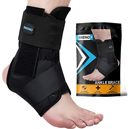 SNEINO Ankle Brace for Women & Men - Ankle Brace Stabilizer,Ankle Brace for Sprained Ankle,Ankle Support for Running, Basketball, Volleyball,Achilles,Tendon,Sprain,Injury Recovery(Medium)