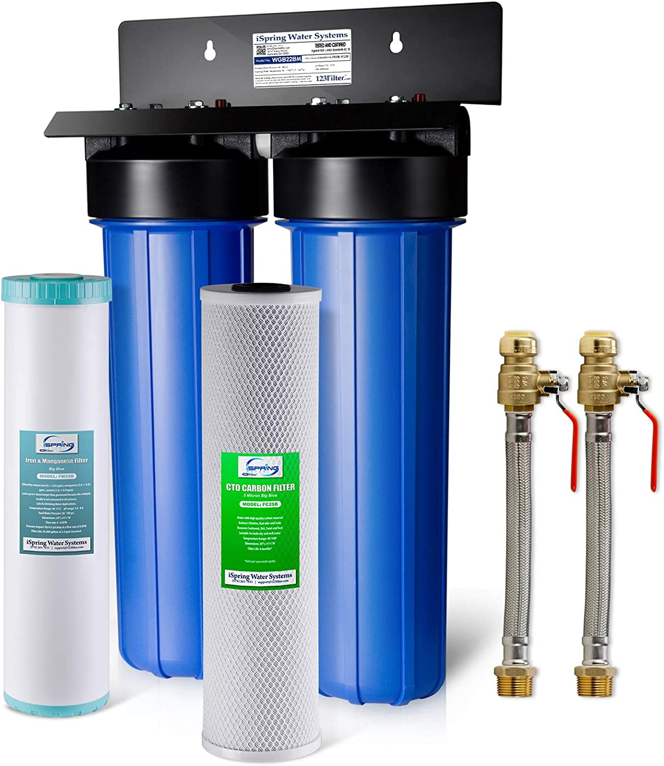 New York Mall iSpring WGB22BM+AHPF12MNPT16X2 2-Stage Whole Filtrat Limited price House Water