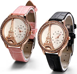 JewelryWe Wholesale Mother Day Gift Bling Rhinestone Accented Eiffel Tower Leather Strap Watch Ladies Women Watches 2 PCS 4 PCS