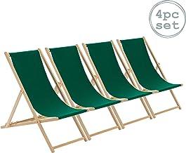 Harbour Housewares Tumbona reclinable y Plegable - Ideal para Playa y jardín - Estilo Tradicional - Verde - Pack de 4