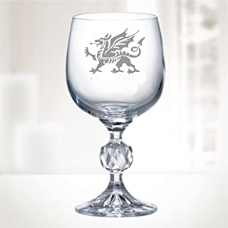 "9oz ""Bohemia Crystal"" Wine Glass With Welsh Dragon Design"