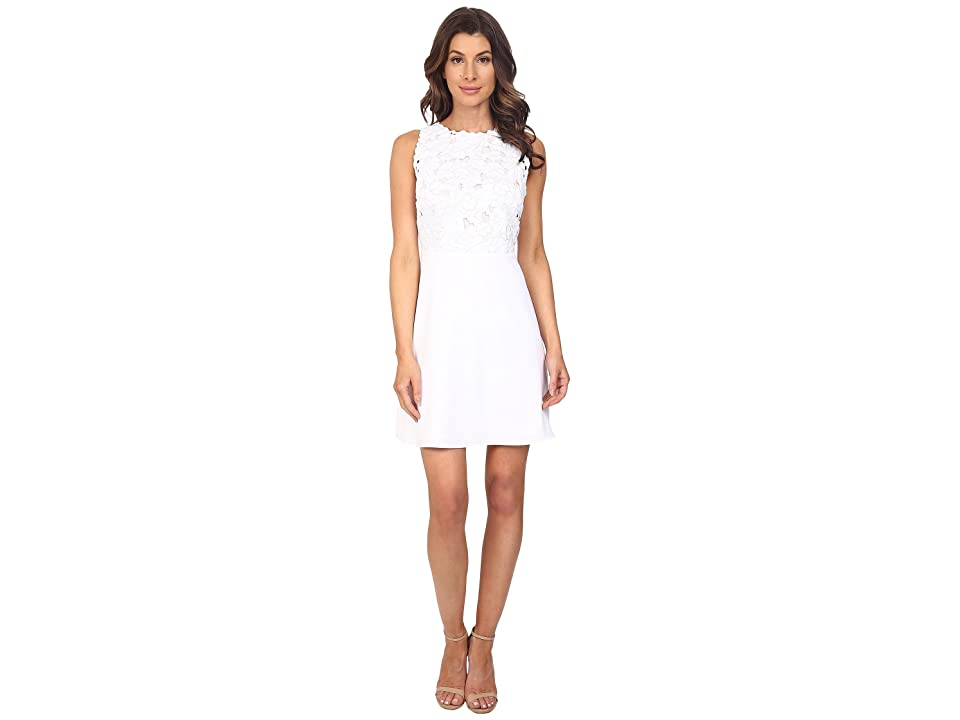 Laundry by Shelli Segal Embroidered Mixed Fabric A-Line Sheath Dress (Optic White) Women