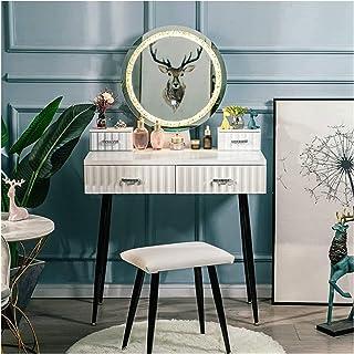 Vanity Table طاولة الغرور مجموعة مع مرآة مضاءة 3 أوضاع الإضاءة الساقين الجدول المعدني والبراد المبيض الجدول درج كبير Dress...