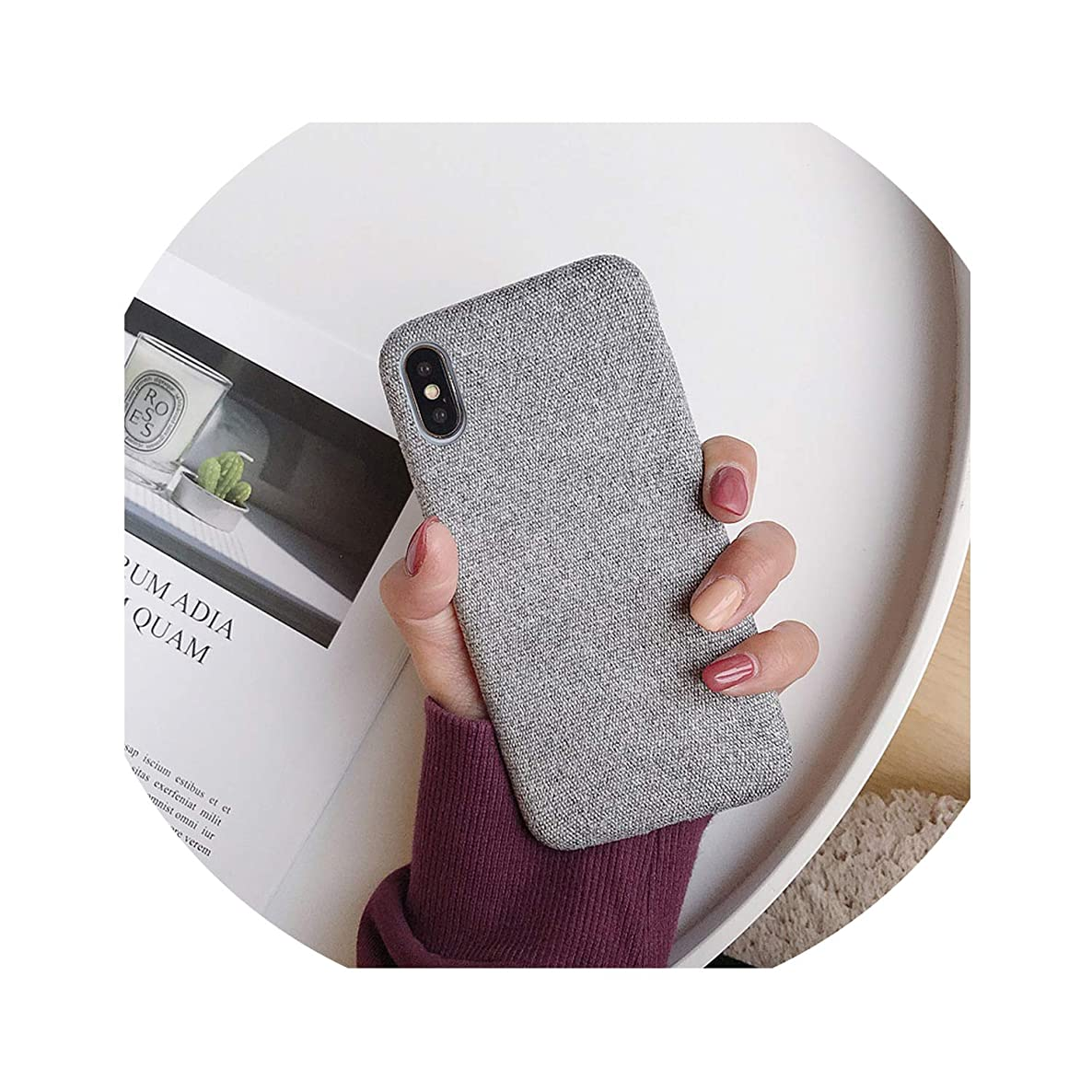 Cloth Texture Soft Case for iPhone X for iPhone 7 8 6 6S Plus Xs Max XR Ultra-Thin Canvas Pattern Phone Cases,IK51-FBLightGray,for iPhone 8plus