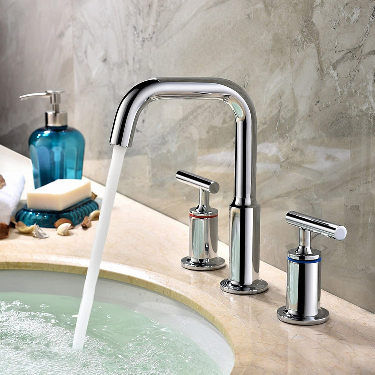 Mangeoo Simple Round Chrome Widespread Bathroom Sink Mixer Faucets Deck Mounted
