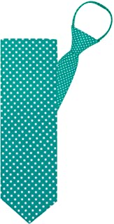 "Jacob Alexander Polka Dot Print Boys 14"" Polka Dotted Zipper Tie - Teal"
