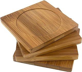 "BambooMN Brand - Heavy Duty 100% Eco-Friendly Natural Bamboo Coaster Set - 4"" x 4"" Square - 1 Set of 4"