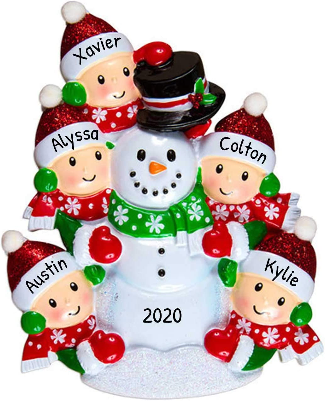 Personalized Building Snowman Family Of 3 Christmas Tree Ornament 2020 Parent Child Friend Red Hat Play Snowball Holiday Tradition Winter Activity 1st Gift Year Free Customization Three Home Kitchen Amazon Com