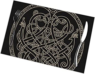 KSIYAF Ancient Decorative Dragon in Celtic Style Placemats,Polyester Table Mats Set of 6,Placemats Heat-Resistant Stain Resistant Anti-Skid Washable Table Mats Placemats