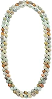 Colored Glass Beaded Sweater Necklace,Long Endless Handmade Strand Necklace Knotted Jewelry Costume 8 MM Infinity Gemstone Necklace