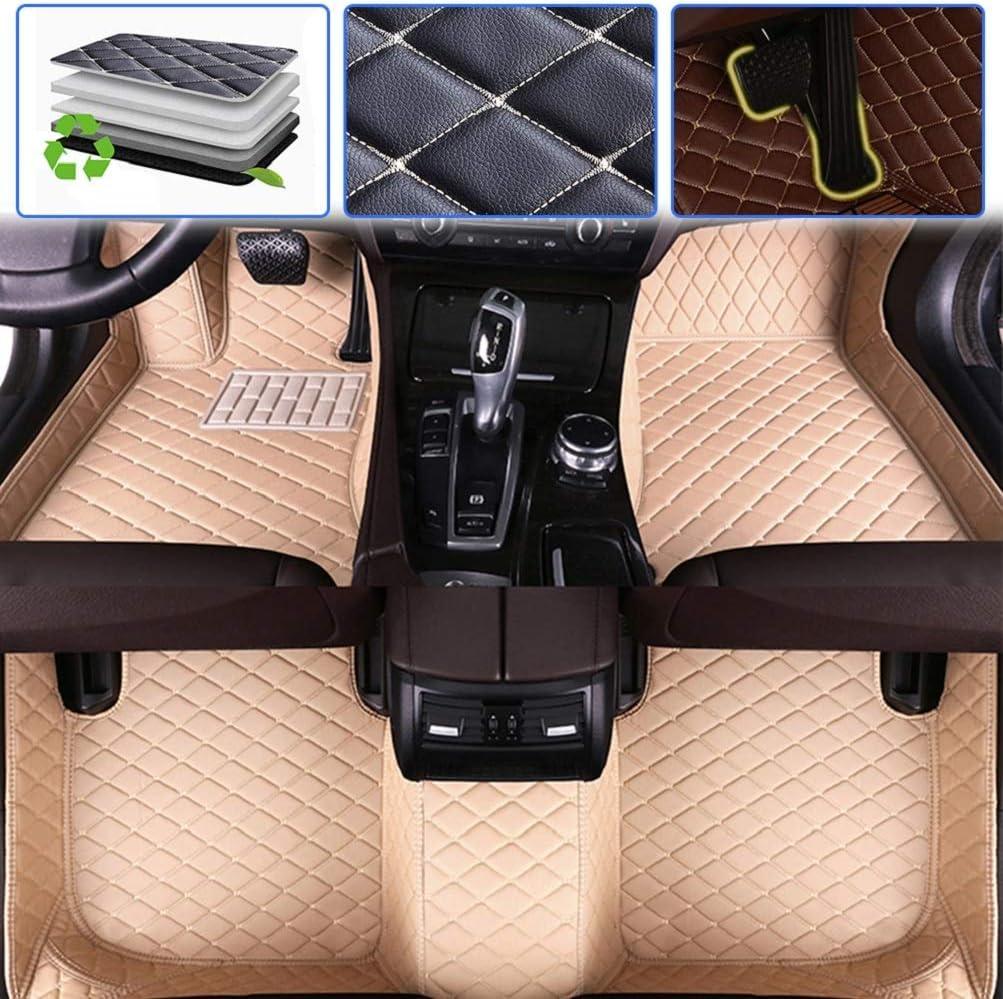2015-2019 Luxury Leather Waterproof Anti-Skid Full Coverage Liner Front & Rear Mat//Set Beige Custom Car Floor Mats for Dodge Challenger 2004-2014