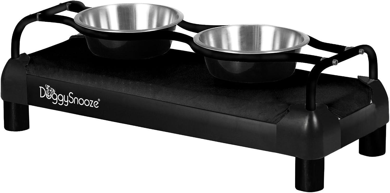 DoggySnooze DSHDMDBFBL Medium High Diner for Dogs, Black with Black Frame