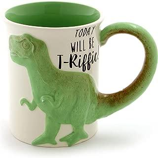 "Enesco 6000549 Our Name is Mud ""Tea Rex"" Stoneware Coffee, 16 oz. Sculpted Mug, Green"