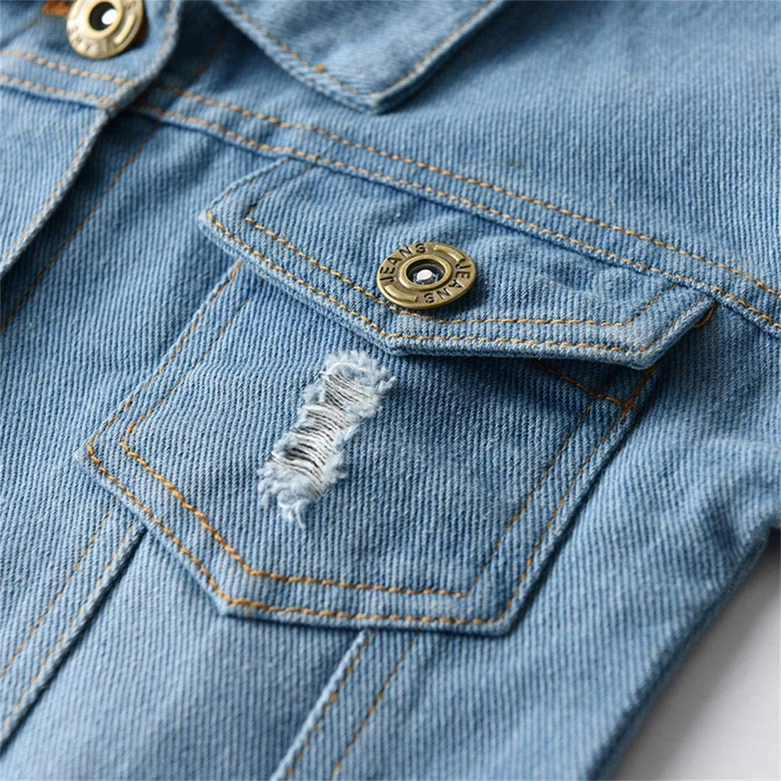 Toddler Baby Boys Girls Denim Jacket Kids Button Jeans Jacket Top Coat Outerwear