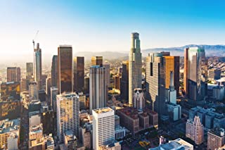 Downtown Los Angeles Skyline Sunset Aerial Photo Cool Wall Decor Art Print Poster 18x12