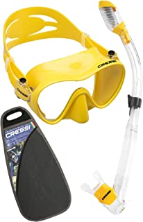 Cressi F1 Dry Set Frameless Single Lens Diving Mask Dry Top Snorkel Diving Snorkeling Set, Adult-Unisex, Yellow