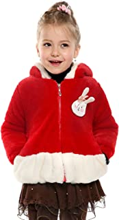Arshiner Infant Baby Toddler Girls Thickened Winter Jacket Coat Faux Fur Lapel Outwear Hooded Warm Fall Winter Tops