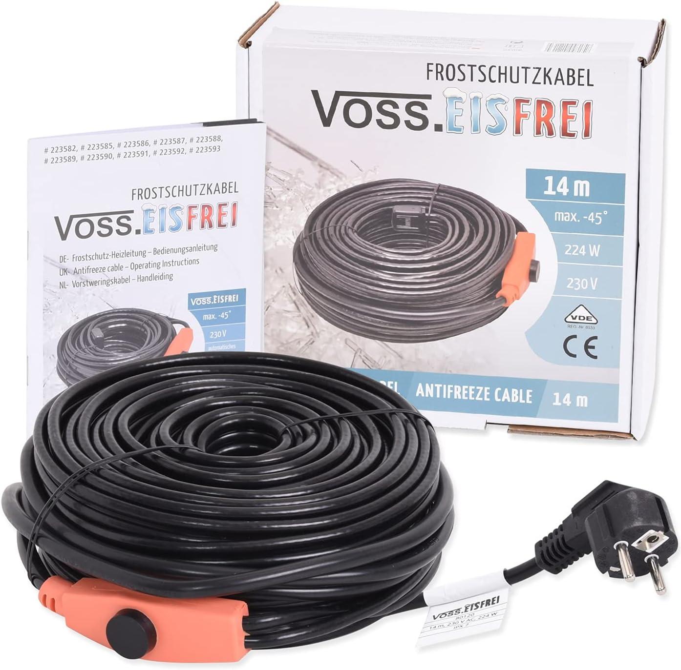 Frostschutz Heizkabel mit Knopf-Thermostat VOSS.eisfrei 1m 2m 4m 8m 12m 14m 18m 24m 37m 49m, 230V, Heizleitung Zum Schutz von Wasserleitungen und…