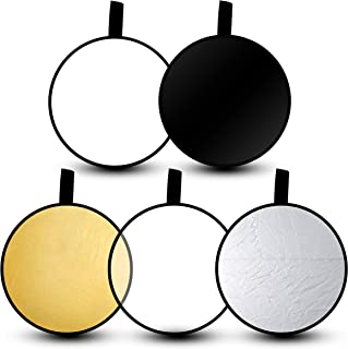"""Emart 24"""" 5-in-1 Portable Photography Studio Multi Photo Disc Collapsible Light Reflector with Bag - Translucent, Silver, ..."""