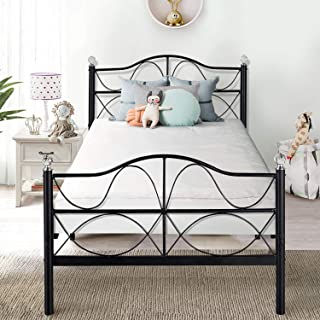 VECELO Twin Size Bed Frame Metal Platform Mattress Foundation/Box Spring Replacement with Headboard, Deluxe Crystal Ball Stylish,